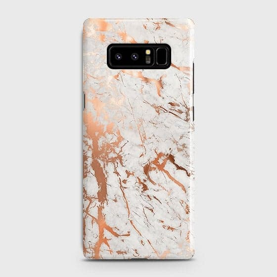 Samsung Galaxy Note 8 Cover - In Chic Rose Gold Chrome Style Printed Hard Case with Life Time Colors Guarantee