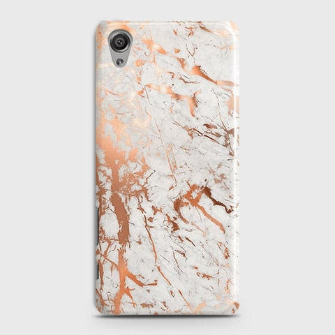 Sony Xperia XA Cover - In Chic Rose Gold Chrome Style Printed Hard Case with Life Time Colors Guarantee
