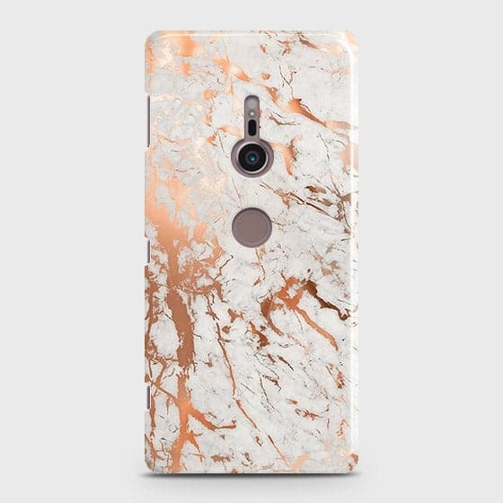 Printed Cover in Chic Rose Gold Chrome Style Case with Life Time Guarantee For Sony Xperia XZ2