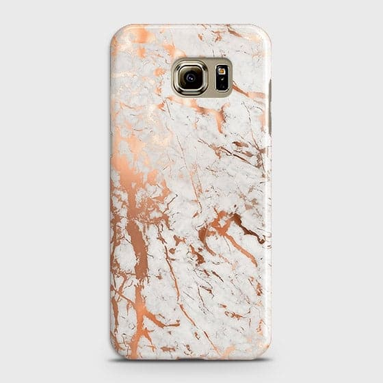 Samsung Galaxy S6 Cover - In Chic Rose Gold Chrome Style Printed Hard Case with Life Time Colors Guarantee