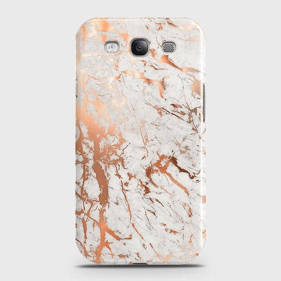 Samsung Galaxy S3 Cover - In Chic Rose Gold Chrome Style Printed Hard Case with Life Time Colors Guarantee