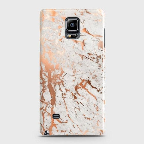Samsung Galaxy Note 4 Cover - In Chic Rose Gold Chrome Style Printed Hard Case with Life Time Colors Guarantee