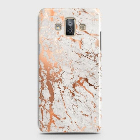 Samsung Galaxy J7 Duo Cover - In Chic Rose Gold Chrome Style Printed Hard Case with Life Time Colors Guarantee