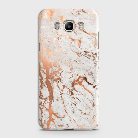 Samsung Galaxy J510 Cover - In Chic Rose Gold Chrome Style Printed Hard Case with Life Time Colors Guarantee