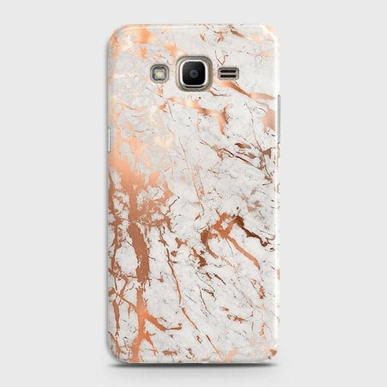 Samsung Galaxy J320 / J3 2016 Cover - In Chic Rose Gold Chrome Style Printed Hard Case with Life Time Colors Guarantee