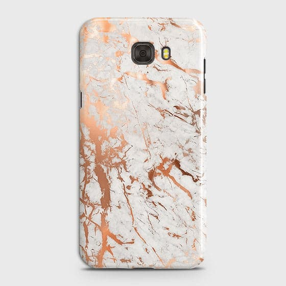 Samsung C7 Cover - In Chic Rose Gold Chrome Style Printed Hard Case with Life Time Colors Guarantee