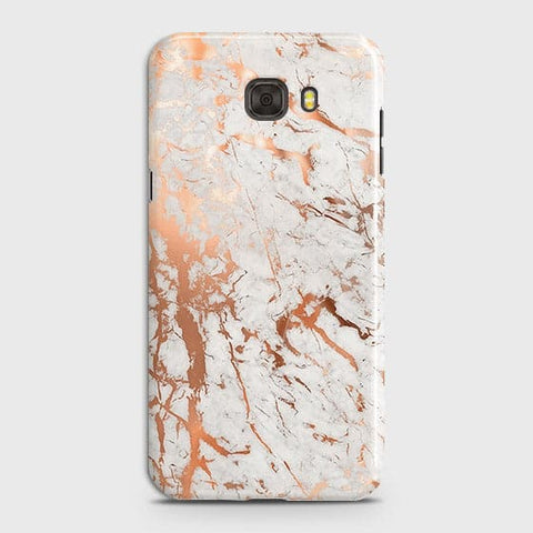 Samsung C7 Pro Cover - In Chic Rose Gold Chrome Style Printed Hard Case with Life Time Colors Guarantee