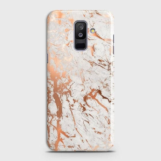 Samsung A6 Plus 2018 Cover - In Chic Rose Gold Chrome Style Printed Hard Case with Life Time Colors Guarantee