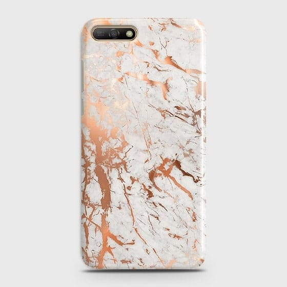 Huawei Y6 2018 Cover - In Chic Rose Gold Chrome Style Printed Hard Case with Life Time Colors Guarantee