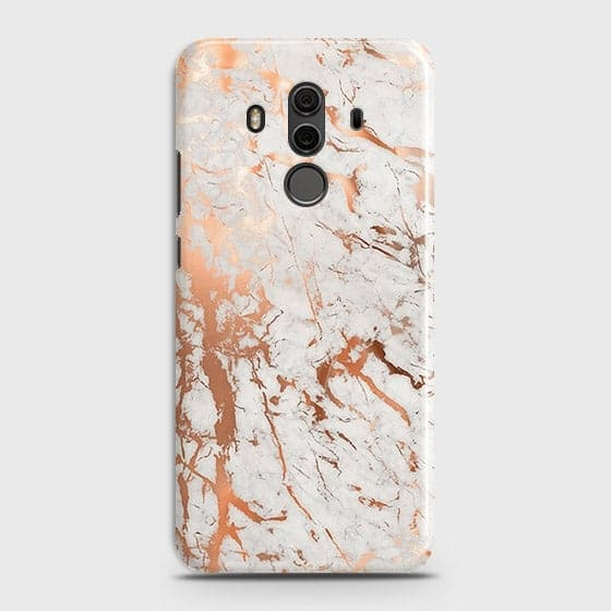 Huawei Mate 10 Pro Cover - In Chic Rose Gold Chrome Style Printed Hard Case with Life Time Colors Guarantee