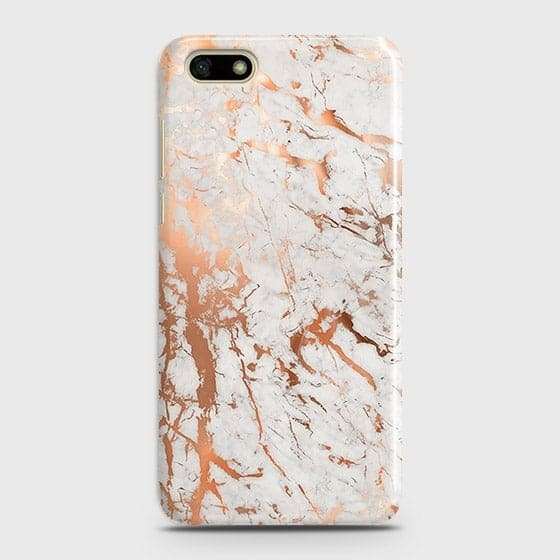 Huawei Y5 Prime 2018 Cover - In Chic Rose Gold Chrome Style Printed Hard Case with Life Time Colors Guarantee