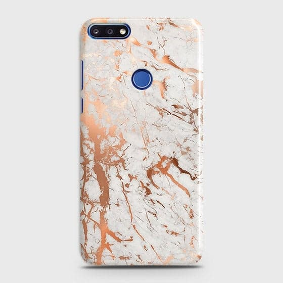 Huawei Y7 Prime 2018 Cover - In Chic Rose Gold Chrome Style Printed Hard Case with Life Time Colors Guarantee