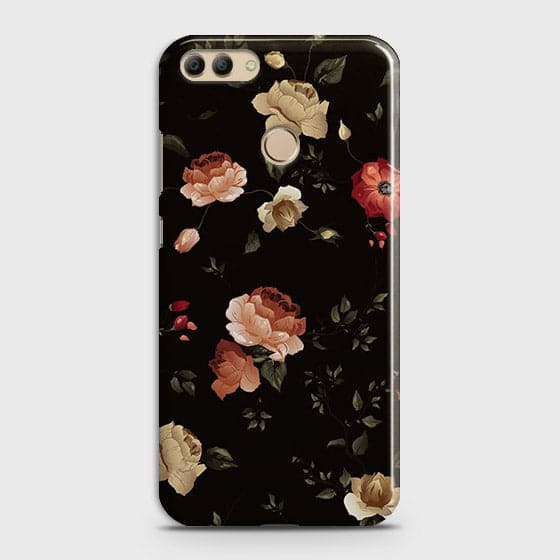 Huawei Y9 2018Cover - Dark Rose Vintage Flowers Printed Hard Case with Life Time Colors Guarantee