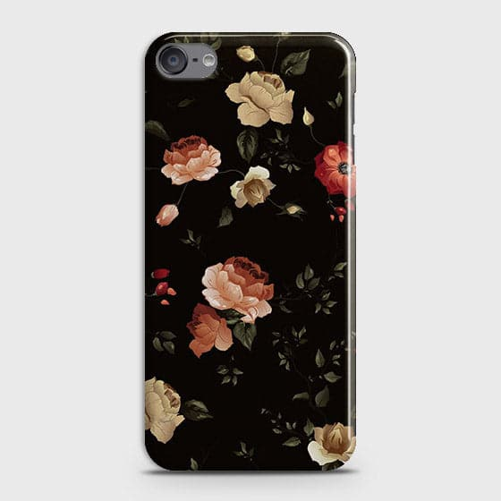 iPod Touch 6 Cover - Dark Rose Vintage Flowers Printed Hard Case with Life Time Colors Guarantee