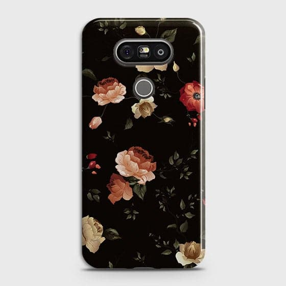 LG G5 Cover - Dark Rose Vintage Flowers Printed Hard Case with Life Time Colors Guarantee
