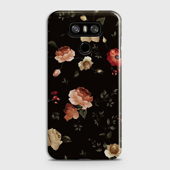 LG G6 Cover - Dark Rose Vintage Flowers Printed Hard Case with Life Time Colors Guarantee