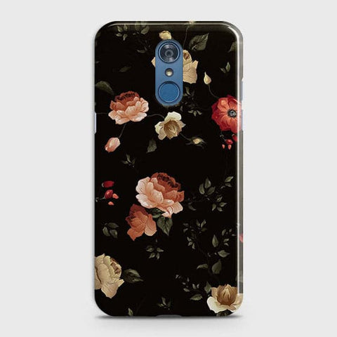 LG Q7 Cover - Dark Rose Vintage Flowers Printed Hard Case with Life Time Colors Guarantee
