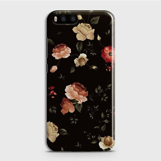 Xiaomi Mi 6Cover - Dark Rose Vintage Flowers Printed Hard Case with Life Time Colors Guarantee