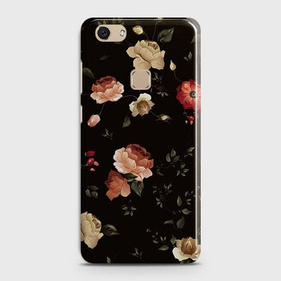 Vivo V7 Cover - Dark Rose Vintage Flowers Printed Hard Case with Life Time Colors Guarantee