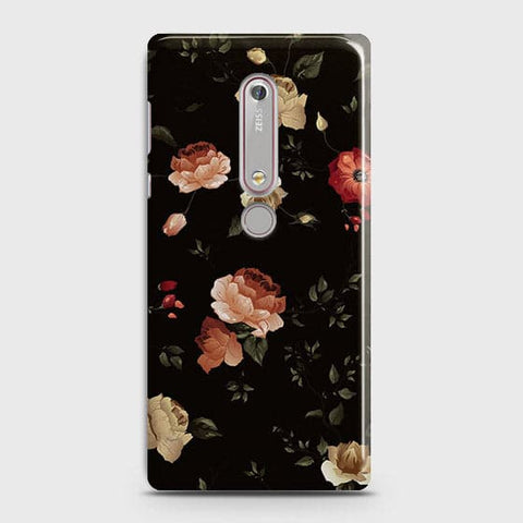 Nokia 6.1Cover - Dark Rose Vintage Flowers Printed Hard Case with Life Time Colors Guarantee