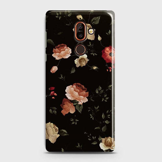 Nokia 7 PlusCover - Dark Rose Vintage Flowers Printed Hard Case with Life Time Colors Guarantee