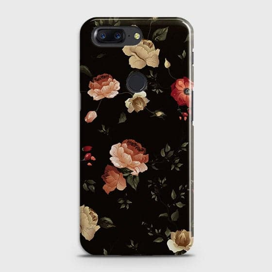 OnePlus 5TCover - Dark Rose Vintage Flowers Printed Hard Case with Life Time Colors Guarantee