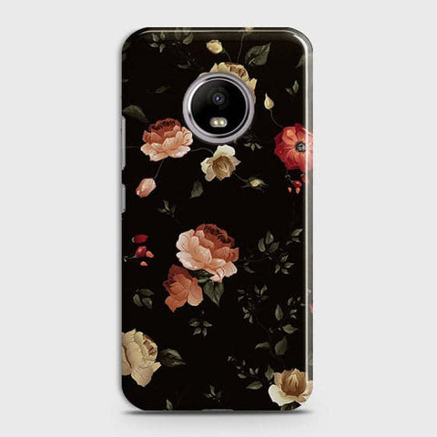 Motorola E4 Plus Cover - Dark Rose Vintage Flowers Printed Hard Case with Life Time Colors Guarantee