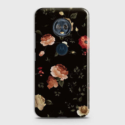 Motorola E5 PlusCover - Dark Rose Vintage Flowers Printed Hard Case with Life Time Colors Guarantee