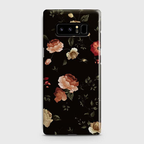 Samsung Galaxy Note 8 Cover - Dark Rose Vintage Flowers Printed Hard Case with Life Time Colors Guarantee