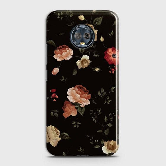 Motorola Moto G6 Cover - Dark Rose Vintage Flowers Printed Hard Case with Life Time Colors Guarantee