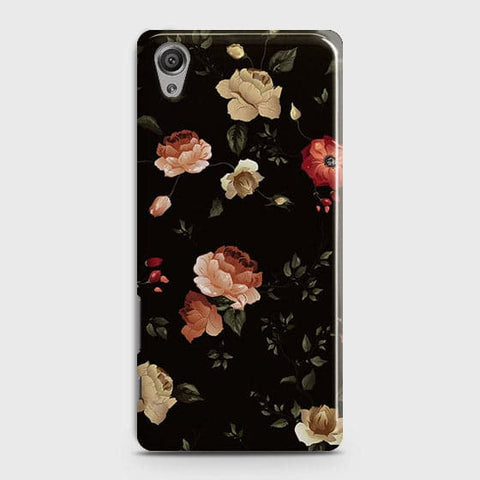 Sony Xperia XA Cover - Dark Rose Vintage Flowers Printed Hard Case with Life Time Colors Guarantee