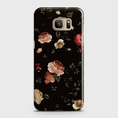 Samsung Galaxy S7 Cover - Dark Rose Vintage Flowers Printed Hard Case with Life Time Colors Guarantee