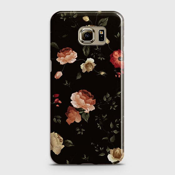 Samsung Galaxy S6 Edge Plus Cover - Dark Rose Vintage Flowers Printed Hard Case with Life Time Colors Guarantee