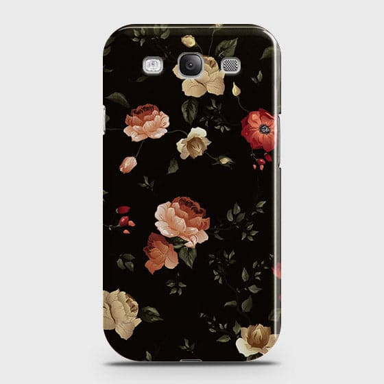 Samsung Galaxy S3 Cover - Dark Rose Vintage Flowers Printed Hard Case with Life Time Colors Guarantee