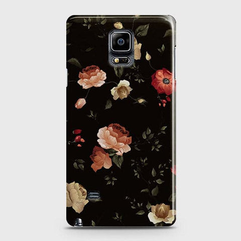 Samsung Galaxy Note 4 Cover - Dark Rose Vintage Flowers Printed Hard Case with Life Time Colors Guarantee