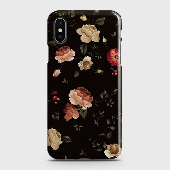 iPhone XS Cover - Dark Rose Vintage Flowers Printed Hard Case with Life Time Colors Guarantee(3)
