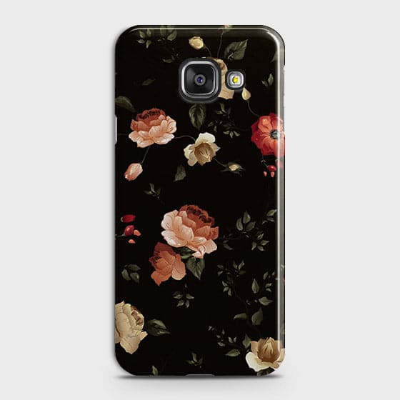 Samsung Galaxy A710 (A7 2016) Cover - Dark Rose Vintage Flowers Printed Hard Case with Life Time Colors Guarantee