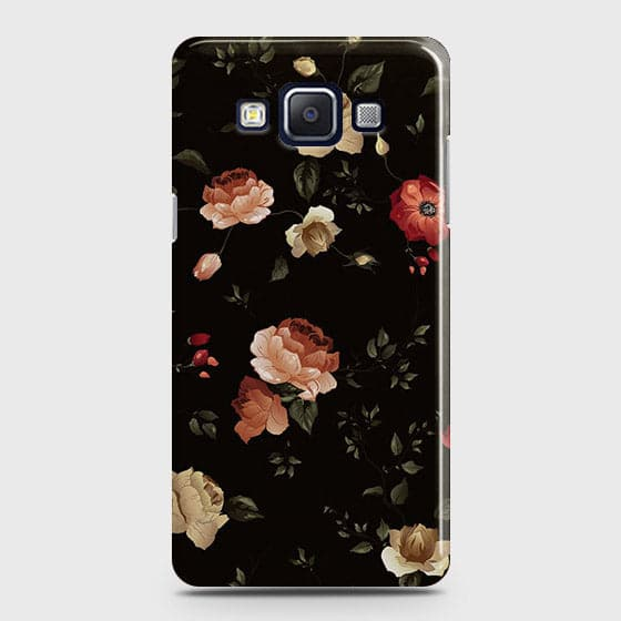 Samsung A7 Cover - Dark Rose Vintage Flowers Printed Hard Case with Life Time Colors Guarantee