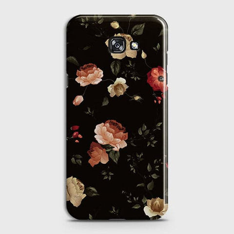Samsung A7 2017 Cover - Dark Rose Vintage Flowers Printed Hard Case with Life Time Colors Guarantee