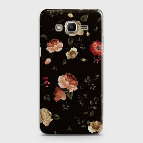 Samsung Galaxy J320 / J3 2016 Cover - Dark Rose Vintage Flowers Printed Hard Case with Life Time Colors Guarantee