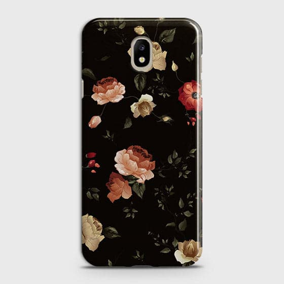 Samsung Galaxy J5 2017 Cover - Dark Rose Vintage Flowers Printed Hard Case with Life Time Colors Guarantee