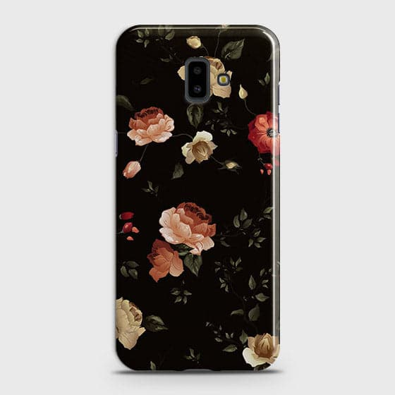 Samsung J6 Plus 2018 Cover - Dark Rose Vintage Flowers Printed Hard Case with Life Time Colors Guarantee