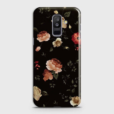 Samsung A6 Plus 2018 Cover - Dark Rose Vintage Flowers Printed Hard Case with Life Time Colors Guarantee