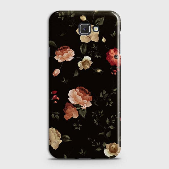 Samsung Galaxy J7 Prime 2 Cover - Dark Rose Vintage Flowers Printed Hard Case with Life Time Colors Guarantee