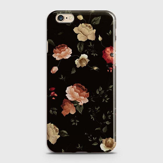 iPhone 6 Plus & iPhone 6S Plus Cover - Dark Rose Vintage Flowers Printed Hard Case with Life Time Colors Guarantee