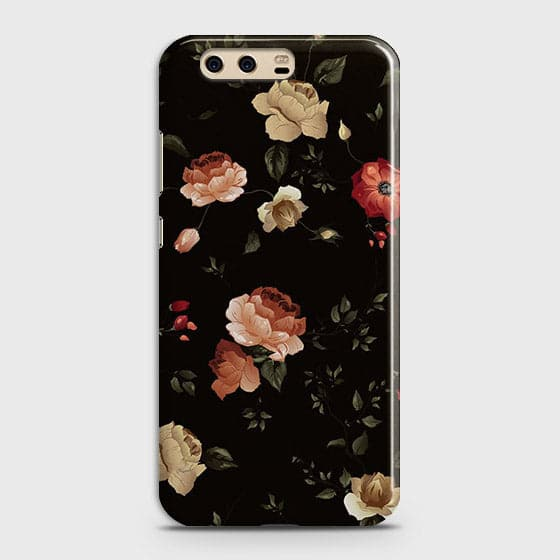 Huawei P10 Cover - Dark Rose Vintage Flowers Printed Hard Case with Life Time Colors Guarantee