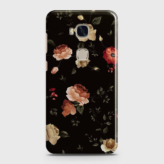 Huawei Honor 5X Cover - Dark Rose Vintage Flowers Printed Hard Case with Life Time Colors Guarantee