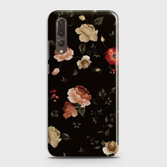 Huawei P20 Pro Cover - Dark Rose Vintage Flowers Printed Hard Case with Life Time Colors Guarantee