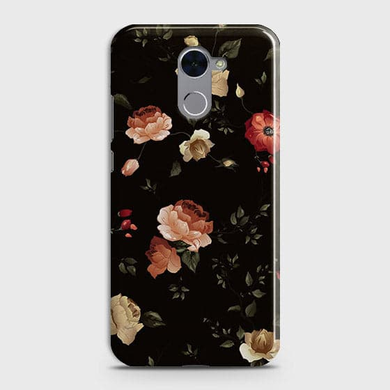 Huawei Y7 Prime Cover - Dark Rose Vintage Flowers Printed Hard Case with Life Time Colors Guarantee
