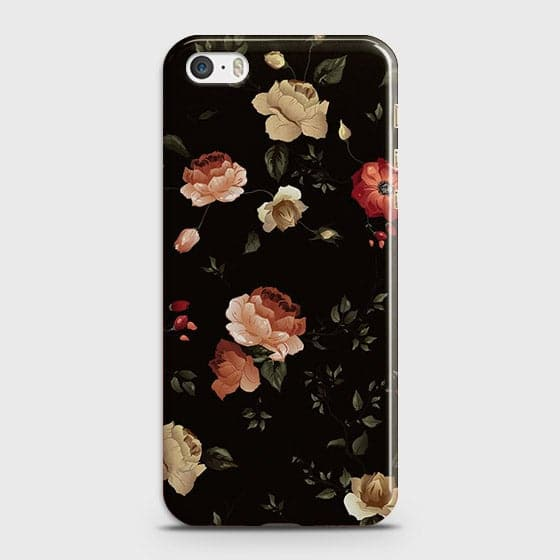 iPhone 5C Cover - Dark Rose Vintage Flowers Printed Hard Case with Life Time Colors Guarantee